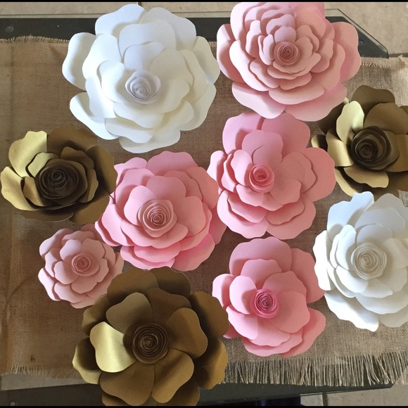 Pink Gold White Paper Flowers